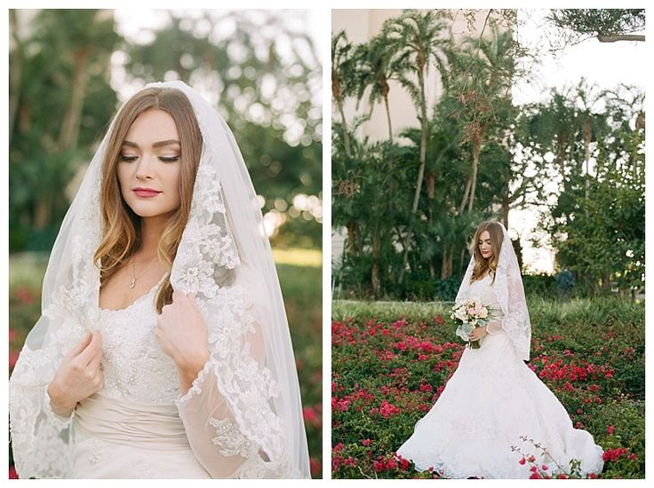 LDS bride in a modest lace wedding dress at the Los Angeles Temple by California photographer Brooke Bakken
