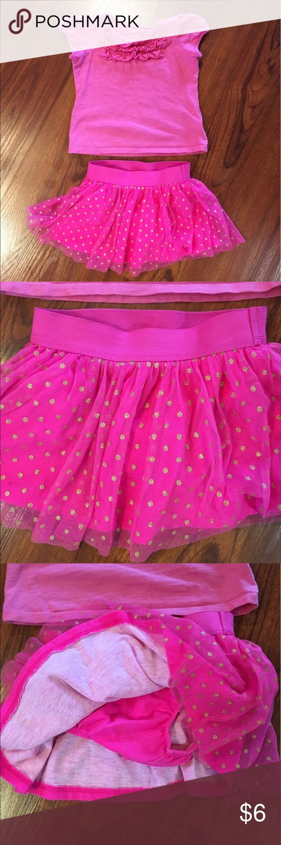 Okie Dokie 2 pcs 18M girls Both Okie Dokie brand. Skirt has tulle material with gold dots and a cotton layer underneath. Also has built in panty. Skirt has elastic waistband. Short sleeved tee has ruffled top. okie dokie Matching Sets