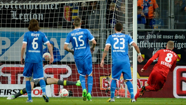 Lars #Bender (Bayer 04 Leverkusen)  Lars Bender of Bayer 04 Leverkusen scores his team's first goal during the German Bundesliga match against TSG 1899 Hoffenheim