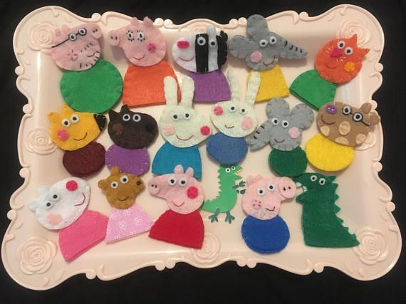Perfect Peppa Pig Felt Toys Finger Puppet Set for Christmas Gift, Christmas Stocking Stuffers, Advent Calendar Stuffer, and more!  Lets bring the story of Peppa Pig to life! Perfect make-you-smile gift for Peppa Pigs big fans and little admirers. The pink tray & Paper Dinosaur are NOT