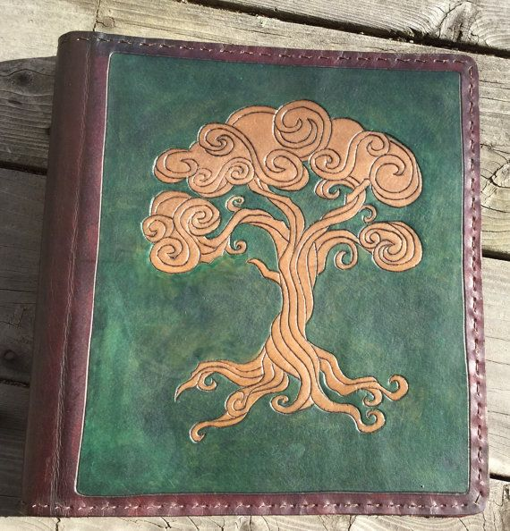 Leather Binder / Hand Tooled in Green and by BlackthornWorkshop