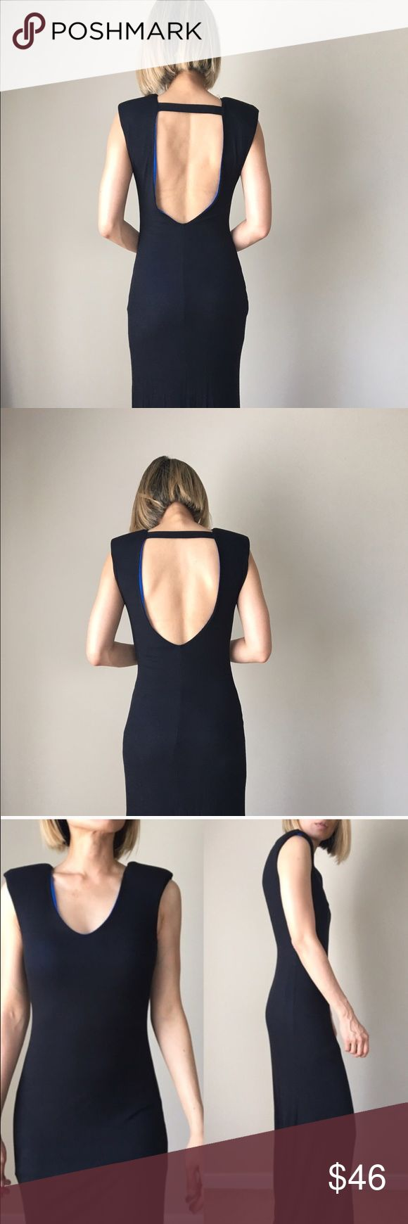 "Luxe boutique androgynous SEXY BACK black dress Well made top quality Androgynous and chic. Line and padded shoulder dress. A structured maxi dress full length .well made top quality.98%rayon 2%spandex .S:Long; 60"" bust 16"" w: 15"" M; Long 61"", bust, 17"" w: 16 sexy. ❤️❤️❤❤️️👉🏼Follow me on  📸INSTAGRAM: @chic_bomb  and 💁🏻📘FACEBOOK: @thechicbomb❤️❤️❤️❤️ CHICBOMB Dresses Maxi"