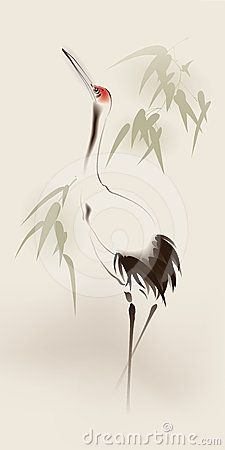 japanese cranes birds drawing - Google Search