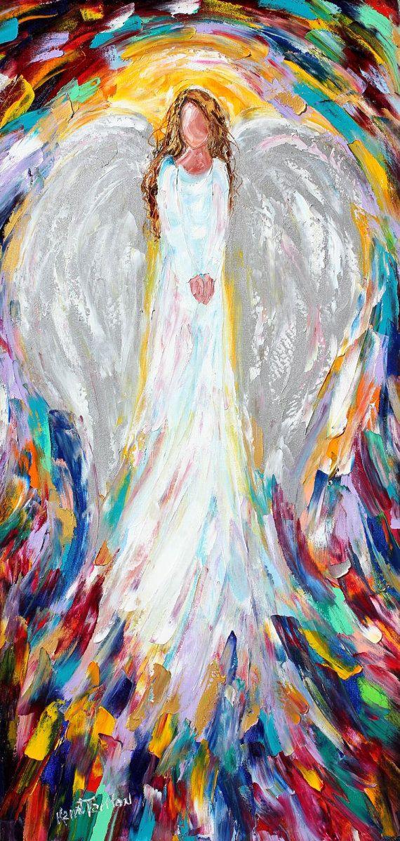 Original oil painting Angel of Light 18x36 abstract impressionism fine art impasto on canvas by Karen Tarlton