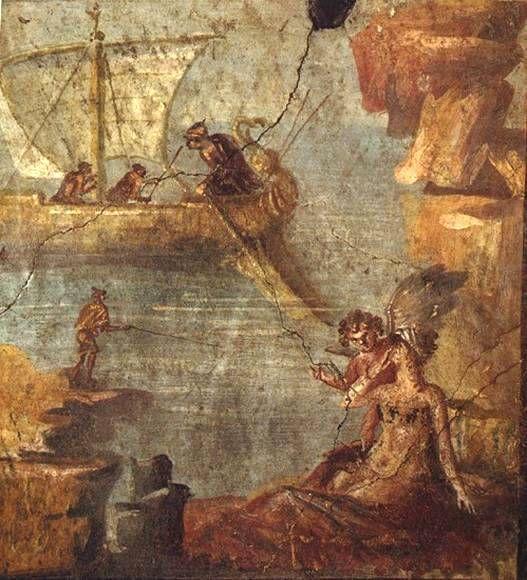 Fresco from the House of the Vetti. Casa dei Vetti. Arianna svegliata da Bacco sull'isola di Nasso, mentre Teseo l'abbandona, fuggendo via con una nave.