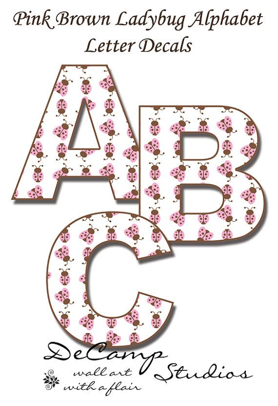 PINK BROWN LADYBUG Alphabet Letters Wall Art Decals Kids Room Childrens Bedroom Baby Nursery Personalize Name Word Lettering Stickers Decor #decampstudios #gift