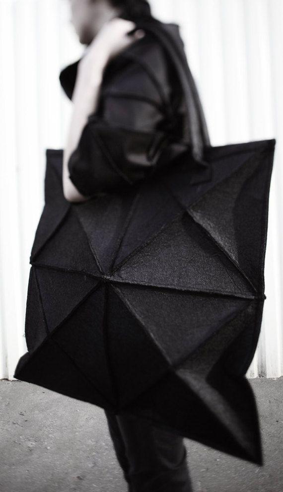 Geometric felt bag/ avant garde black bag/ par celestialbodystore