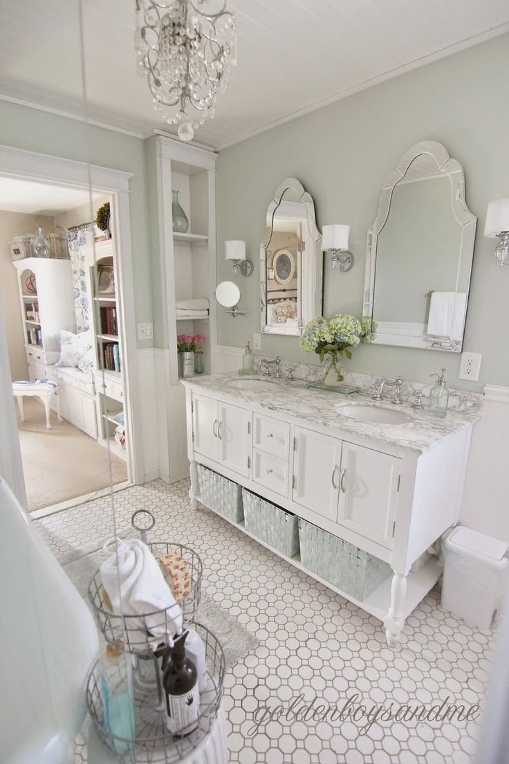 Every day will feel like a spa day when you update your master bath with crisp, clean white furniture and soft, neutral storage solutions and accessories. Finish off your five-star look with a unique pair of eye-catching mirrors.