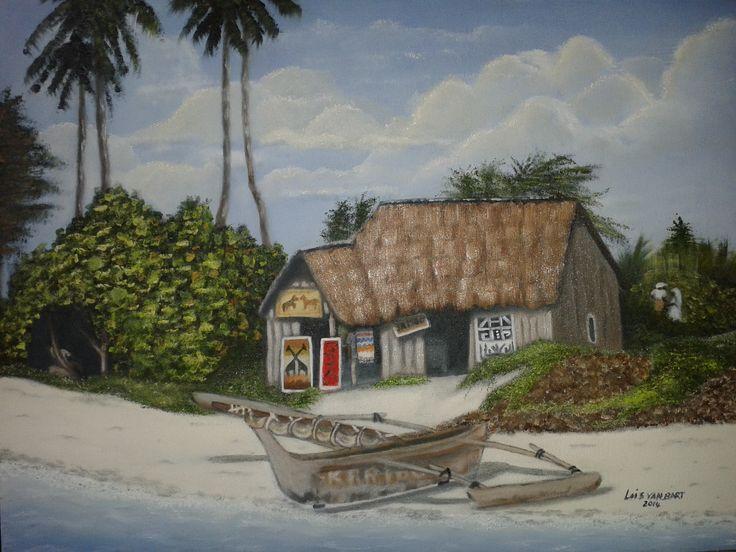 Beach Curio Store Zanzibar - oil on canvas