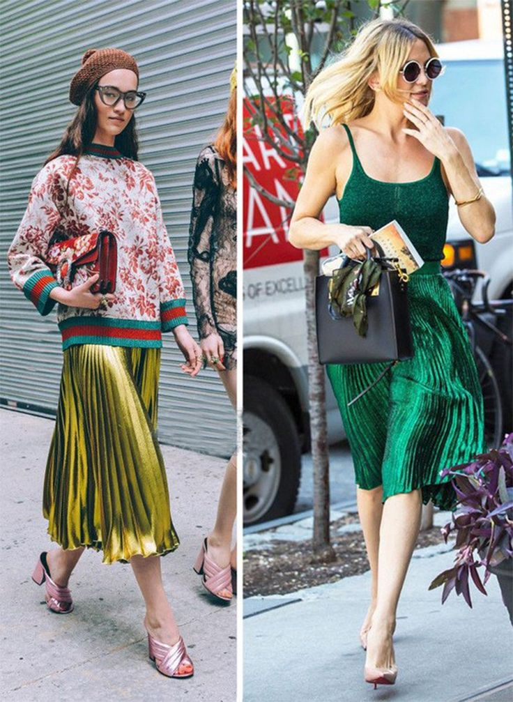 2017 spring summer new metal color pleated green blue red women long skirt - free shipping worldwide