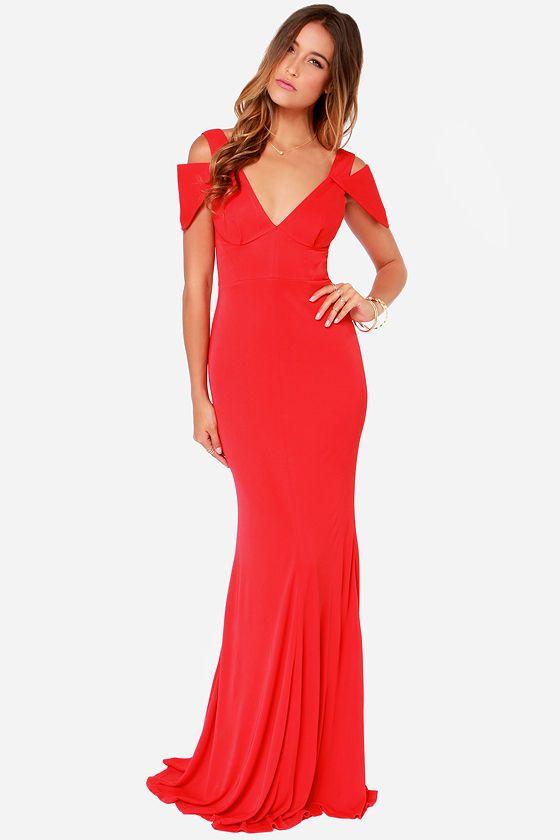 bariano gina red maxi dress