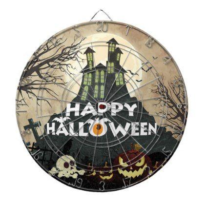 Spooky Haunted House Costume Night Sky Halloween Dart Board - Halloween happyhalloween festival party holiday
