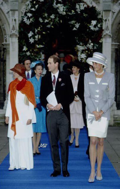 October 8, 1993: Princess Diana with Prince Edward at the wedding of Princess Margaret's son, Viscount David Linley to Miss Serena Stanhope at St. Margaret's Church in London.