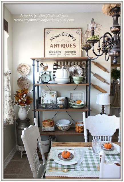 Bakers Rack-Farmhouse Style- Fall Kitchen--From My Front Porch To Yours