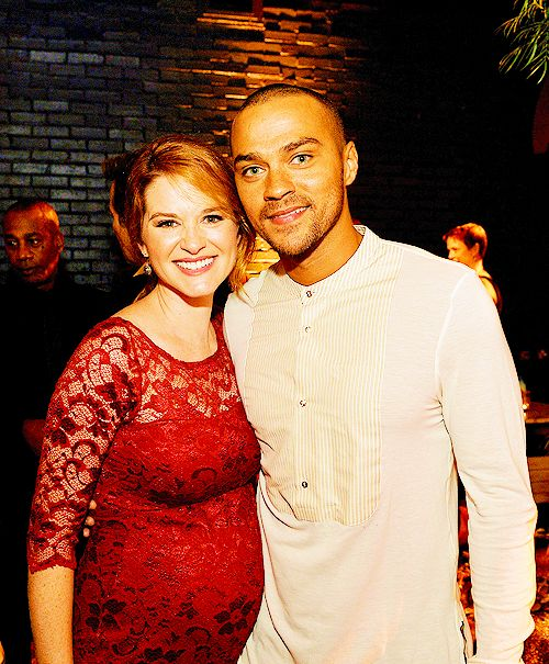 Sarah Drew (April Kepner) & Jesse Williams (Jackson Avery) at the ABC Twitter party. Grey's Anatomy.