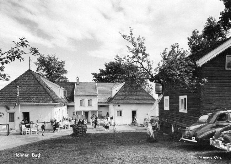 Asker - Holmen bad 1950-tallet. Foto: Stamsvig, Oslo