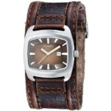 Fossil Casual Cuff Leather Watch Brown with Silver-Tone [Watch] Fossil (Watch)By Fossil