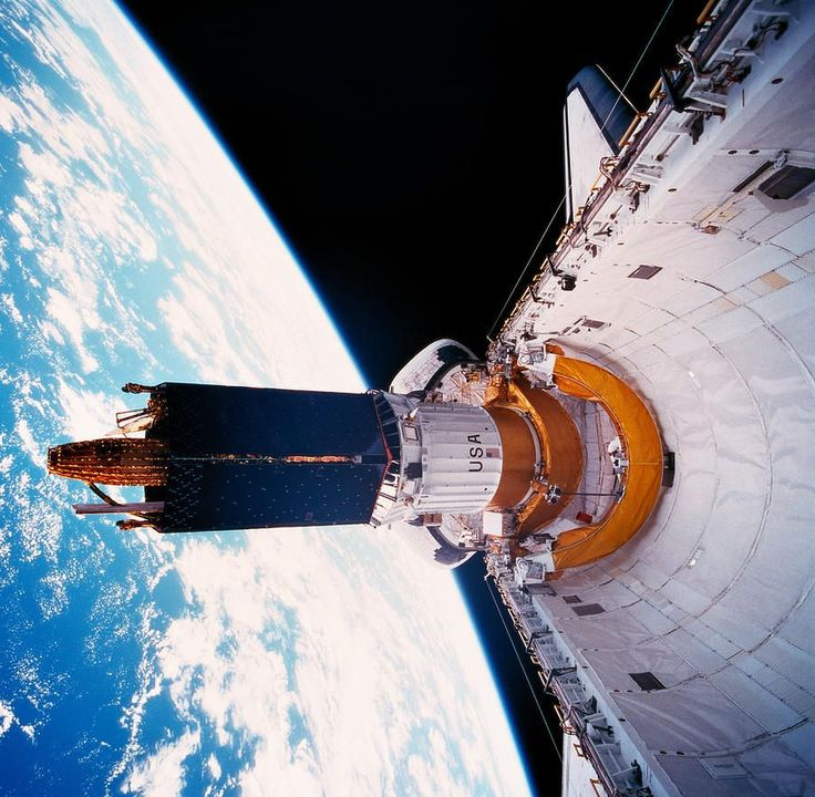 The Space Shuttle In Orbit With Its Cargo Bay Open Space