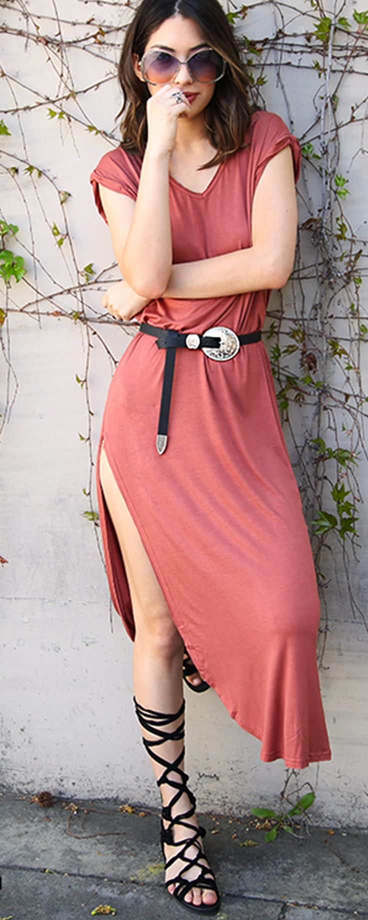 Cuffed Sleeve Maxi Dress RUST | MakeMeChic.COM