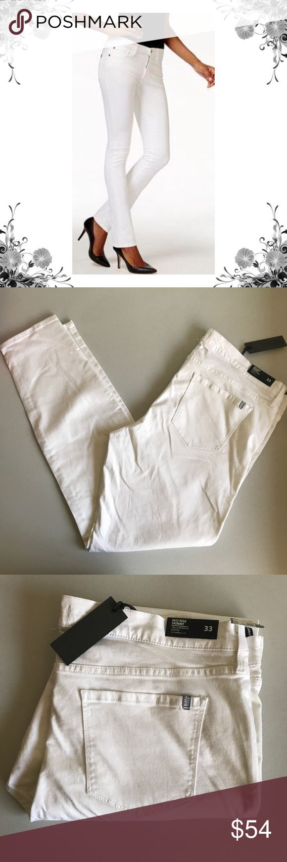 {Buffalo David Bitton} Bright White Skinny Jeans Measurements coming soon! Classic mid rise skinny jean in clean white. These jeans mold and hold to your body, and are ideal for both traditional and curvy body types alike. 59% Modal, 31% Cotton, 9% Polyester, 1% Spandex. Price tag has been cut but is still intact. *Faint washable mark on one leg. Minor, but worth mentioning. Please see pics. Bundle for discounts! Thank you for shopping my closet! Bin Buffalo David Bitton Jeans Skinny