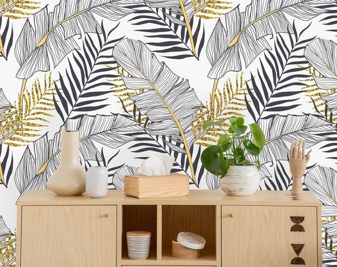 Removable Wallpaper Self Adhesive Wallpaper Tropical Gold Etsy Gold And Black Wallpaper Grey Lattice Wallpaper Removable Wallpaper