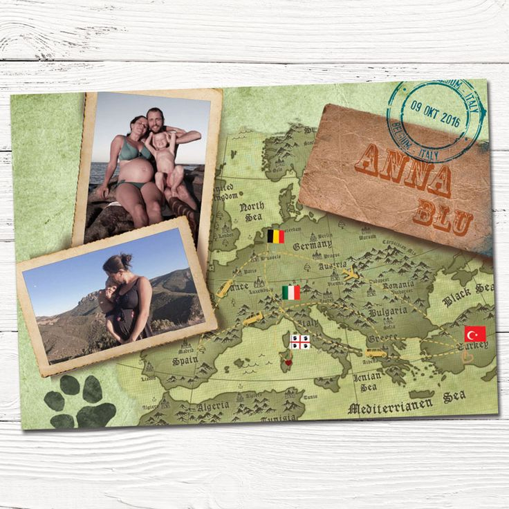 Geboortekaartje Anna Blu op maat ontworpen reizen   indie   design   babykaartjes    reizen   foto