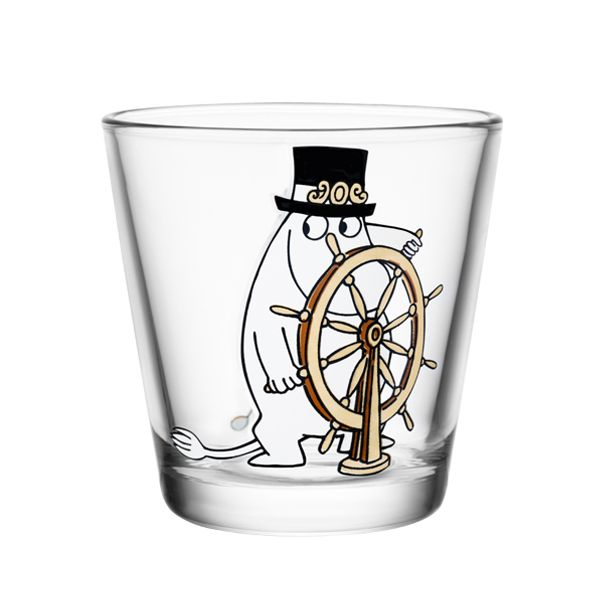 Moomin glass 21 cl, Moominpappa at the helm, Design: Kaj Franck, Tove Slotte, Iiittala