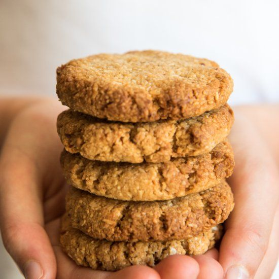 Quick and Easy Anzac Biscuits. Simple, delicious and free from gluten, dairy, eggs, nuts and refined sugar. Enjoy.
