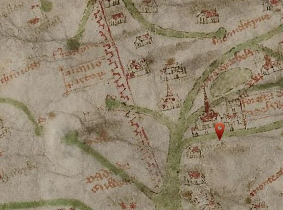 The Gough Map, earliest known map of Britain from mid-1300's, much like Adrian would've seen at Lanercost Priory.  The pin shows Carlisle and the jagged red line is Hadrian's Wall.
