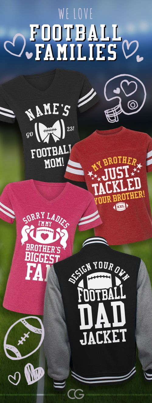 Custom football shirts for the whole family! #football #footballmom #footballgirlfriend