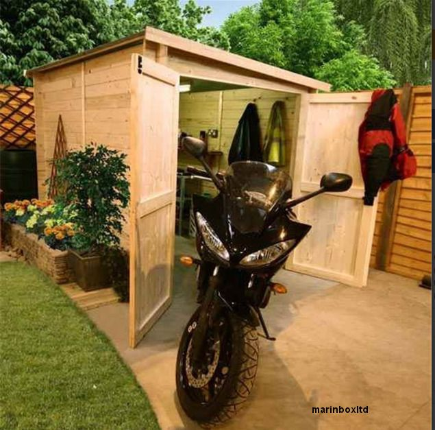 Storage Shed Bike Garage Motor Wooden Log Outdoor Motorbike Motorcycle Barn Tool #Wooden #BikeStorage #Garage