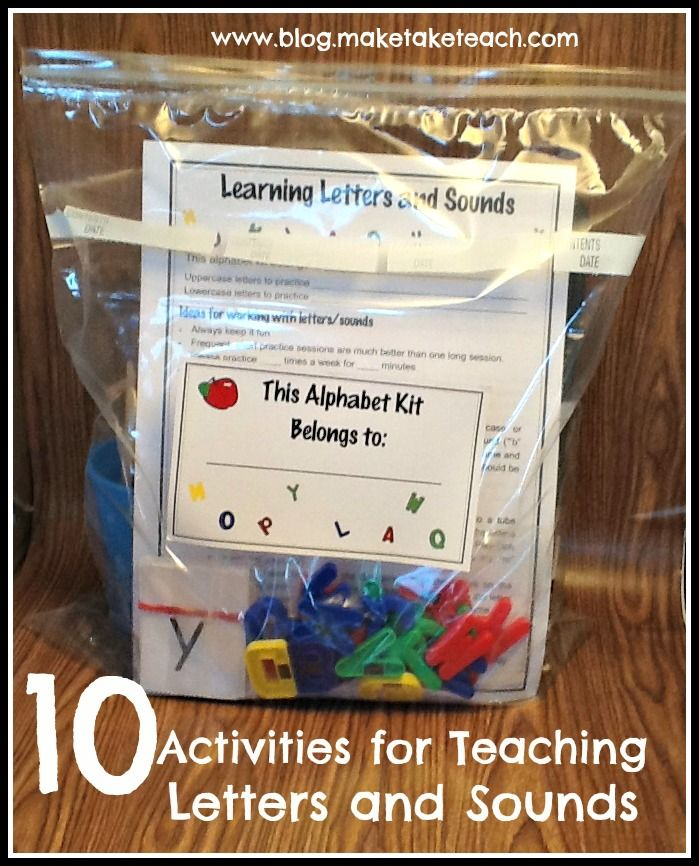 10 activities for teaching and practicing letters and sounds. Perfect for classroom volunteers of for parents to use at home.