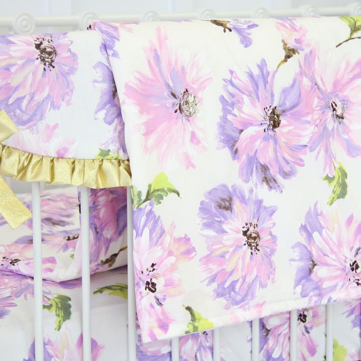 Purple floral baby blanket with a soft minky back - gorgeous and useful on a glider