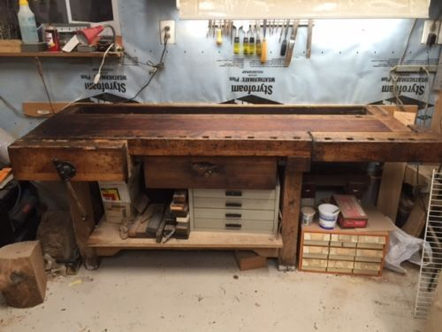 Antique 7 Ft Carpenters Workbench With Shelf 2 Vises