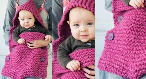 Sac porte bébé au point mousse Facile à réaliser ce sac de couleur vive est tout au point mousse. C'est un rectangle replié et fermé par de gros boutons.