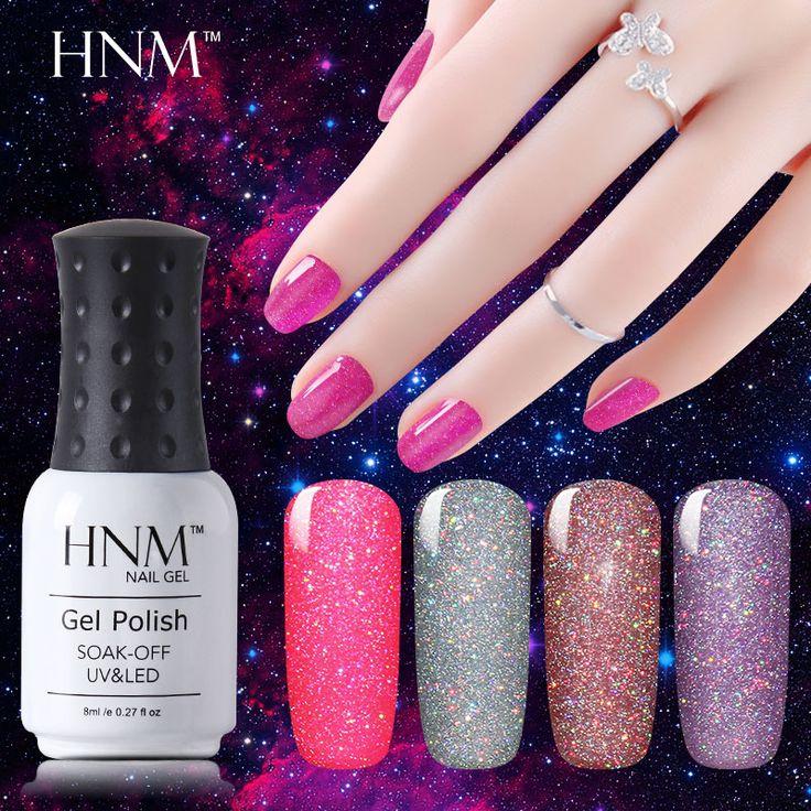 HNM 8ml Bling Gel 1pcs Neon Gel Nail Polish UV LED Lamp Soak Off Gel Polish Vernis Semi Permanent Need Base Top Coat Gel Lak