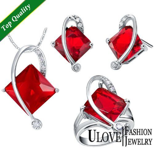 925 Silver Store New Silver Plated Bridal Jewelry Sets Blue/Red/Purple Square Crystal Wedding Ring Necklace Earrings Accessories T295 unique 925 sterling silver jewelry >>> Visit the image link more details.