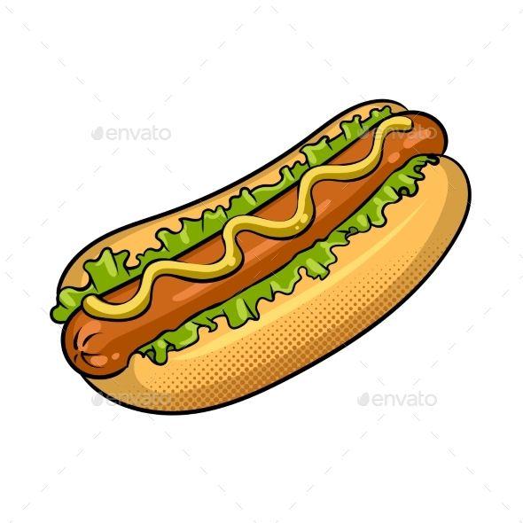 Hot Dog Pop Art Vector Illustration Dog Pop Dog Pop Art Hot Dogs
