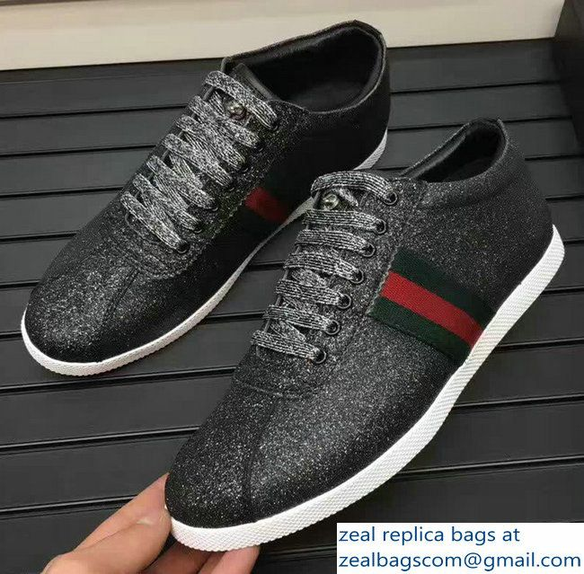 59d42b83282 Gucci Glitter Web Men  s Sneaker With Studs 414684 Black 2017 ...