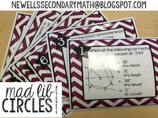 FREE Mad Lib Circles Review Activity (Circumference, Area, Shaded Regions, Tangent Lines)