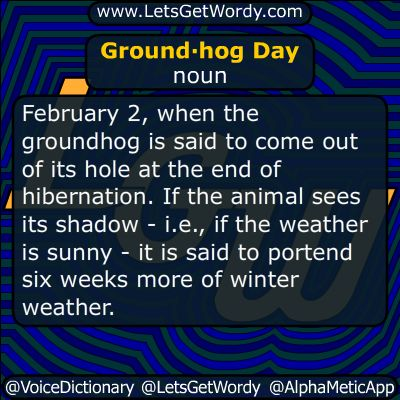 Groundhog Day 02/02/2017 GFX Definition of the Day Ground·hog Day noun #February 2, when the #groundhog is said to come out of its hole at the end of #hibernation If the animal sees its shadow - i.e., if the #weather is sunny - it is said to #portend six weeks more of winter weather.  #LetsGetWordy #dailyGFXdef #GroundhogDay