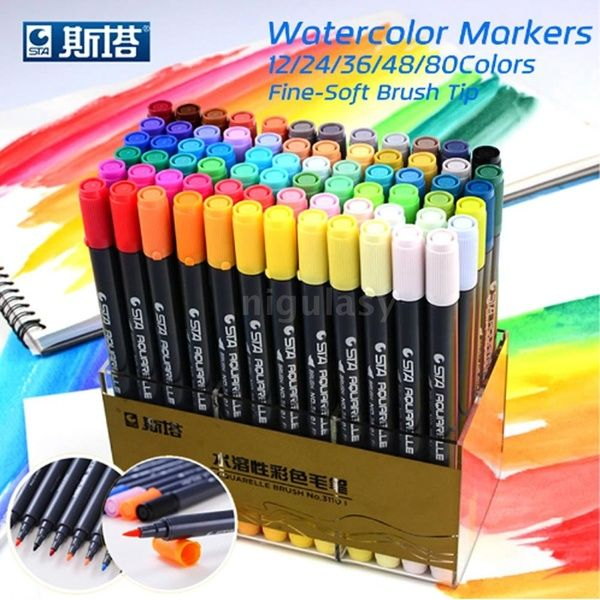 60 Felt Tip Pens Colouring Art Fibre Tipped Drawing Markers School Colour Fine