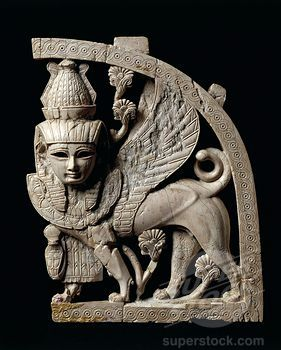 Lower Mesopotamia, Iraq, Sphinx throne decoration from Nimrud, ivory: Ancient Artifact, Entalle, Lower Mesopotamia, Ancient Mesopotamia, Fenicio