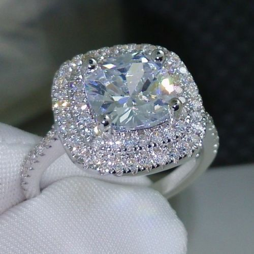 Women 3ct Diamonique Cz 925 Silver Engagement Wedding Ring Size 5 10 Gift