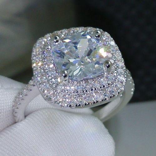 women 3ct diamonique cz 925 silver women engagement wedding ring size 5 10 gift - Diamonique Wedding Rings