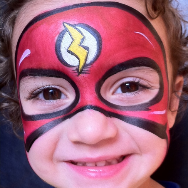 flash hero face painting by carolina the doodler. Black Bedroom Furniture Sets. Home Design Ideas