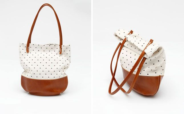 Riley in Polka Dot ($250): Gorgeous Totes, Brit Morin, Seersucker, Cowhide Leather, Clothing Clothing, Distressed Brown, Dots 250, Morin Totes, Brown Cowhide