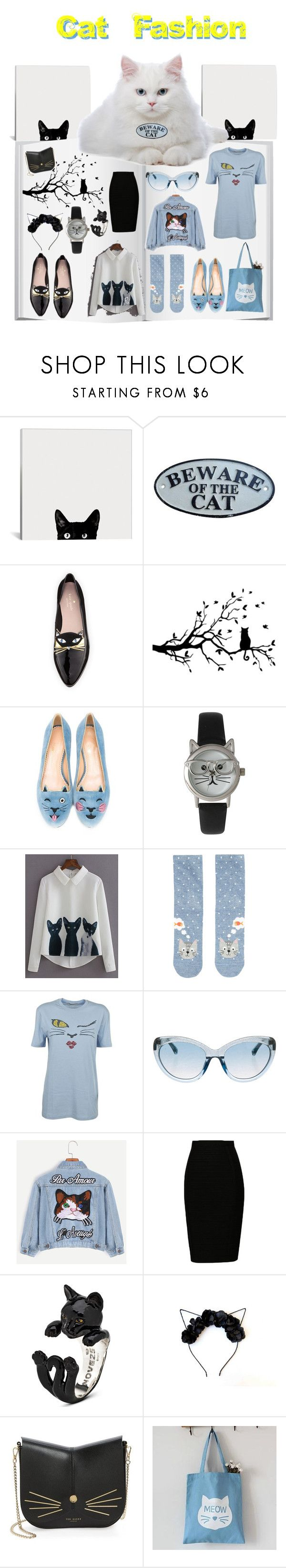 """Cat Look Book"" by sarahcanavan ❤ liked on Polyvore featuring Kate Spade, Charlotte Olympia, Olivia Pratt, WithChic, Accessorize, Ermanno Scervino, Linda Farrow, Ted Baker and Ms Bean"