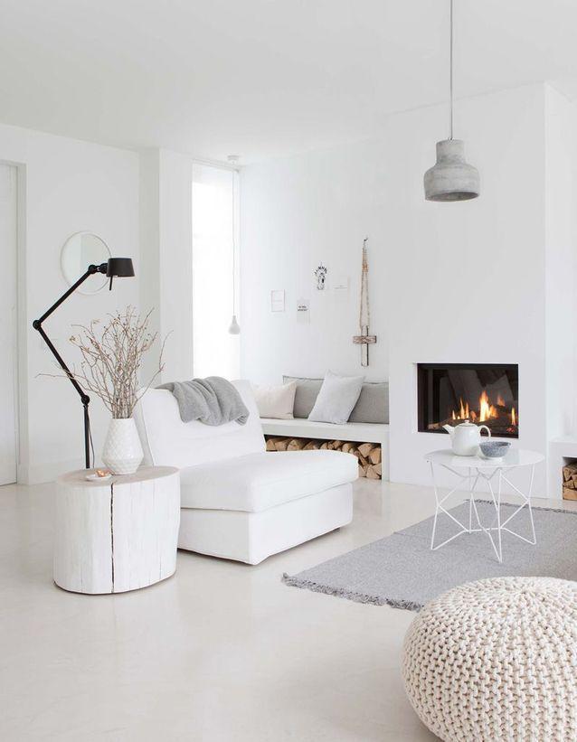 La cheminée moderne, reine du salon design - Elle Décoration ...