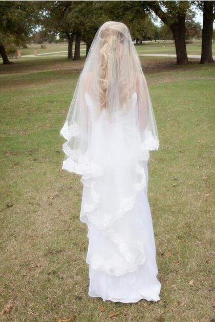 Gorgeous Lace Drop Wedding Veil Meaning Waltz Length Style